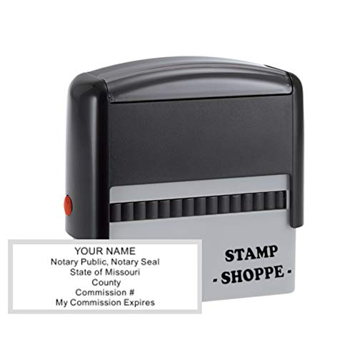 Missouri Notary Grey Stamp Self Inking | Printy 4913, 2.3x0.81 Inch Rectangular Prints | Missouri (Stamp)