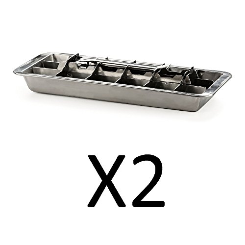 Endurance Stainless Steel 18 Cube Ice Cube Tray, Set of 2 (Aluminum Ice Cube Tray)