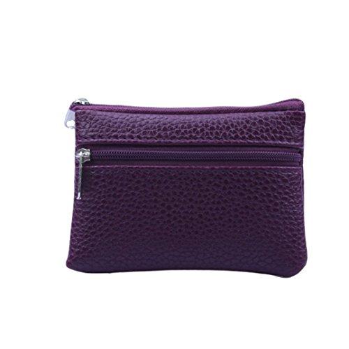 YJYdada Women Men Leather Wallet Multi Functional zipper Leather Coin Purse Card Wallet (Purple) ()