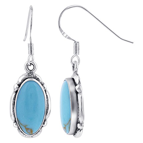 Gem Avenue 925 Sterling Silver Oval Simulated Blue Turquoise Concho 1.5 Inch Long Drop Earrings (Earrings Oval Turquoise French Wire)