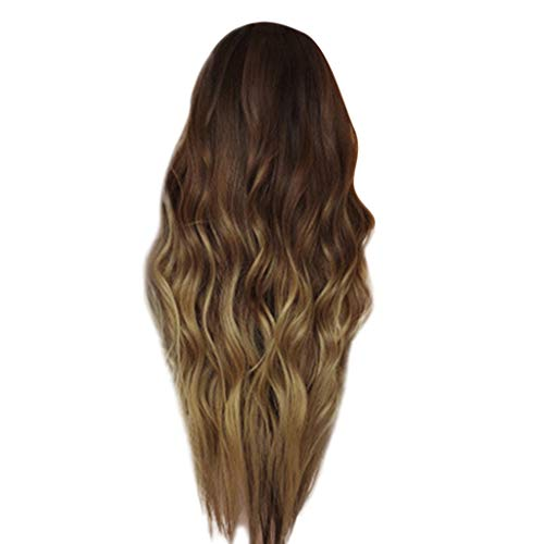 Clearance Ombre Brown Wig for Black Women Long Curly Wavy Full Wigs Synthetic Fiber Hair Cosplay Party Female Wig -