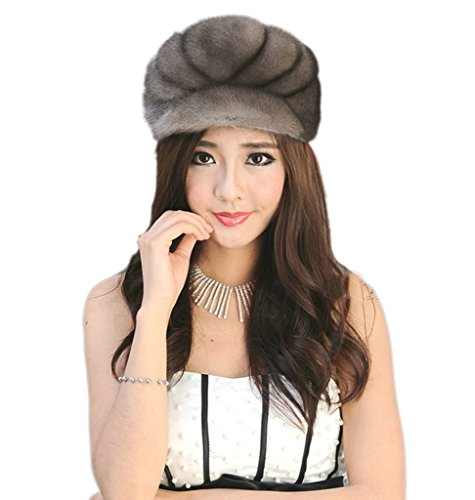 YR Lover Women's Warm Earmuffs Mink Fur Peaked Cap Cute Beret Caps Snow Cap