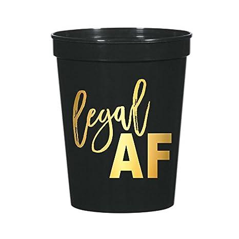 Amazon.com: Legal AF tazas, Plata, 21st fiesta de cumpleaños ...