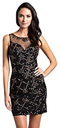 Black Beaded Short Dress