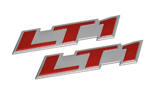 2 x (pair/set) LT1 Embossed RED on Highly Polished Silver Real Aluminum Auto Emblem Badge Nameplate for GM General Motors Performance Chevy Chevrolet Corvette C4 Camaro B4C SS Caprice Police Package Wagon Impala SS Buick Roadmaster Cadillac Fleetwood Pontiac Firebird Z28 Trans AM 5.7L Liter V8 (Cadillac Fleetwood Fender)