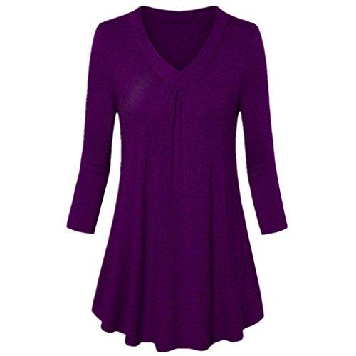 Manica Da Pieghe Donna Tops shirt V T Tunica Forti Con Hlhn Taglie A Scollo Lunga Purple Donne Camicetta Casual aAqFntwBC