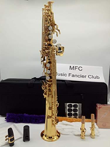 (Japan YANAGISAWA S-991 SWO10 model Soprano saxophone B tune Electrophoresis gold soprano Sax Professional Woodwind instrumen With double neck & bag)