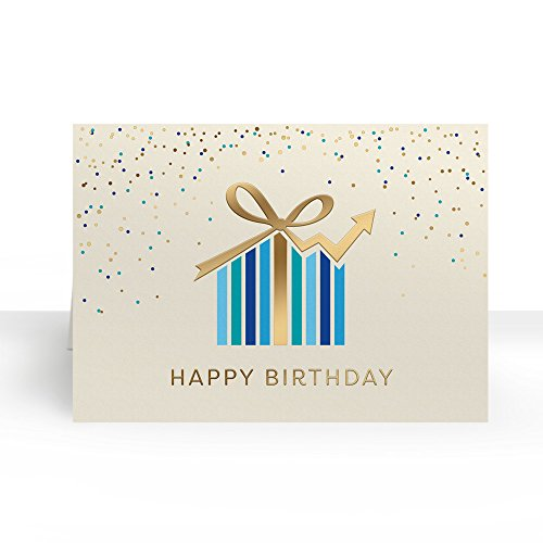 Pack of 25 Wall Street Greetings Premium Birthday Present Graph 5x7 fold over Greeting card with 25 Ivory Peel & Seal gold foil lined envelopes (Foil Ivory Envelopes Gold)