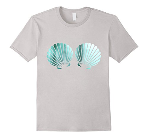 Funny Beach Party Costume Ideas (Mens Beautiful Turquoise Shells Mermaid Birthday Party t Shirt Large Silver)