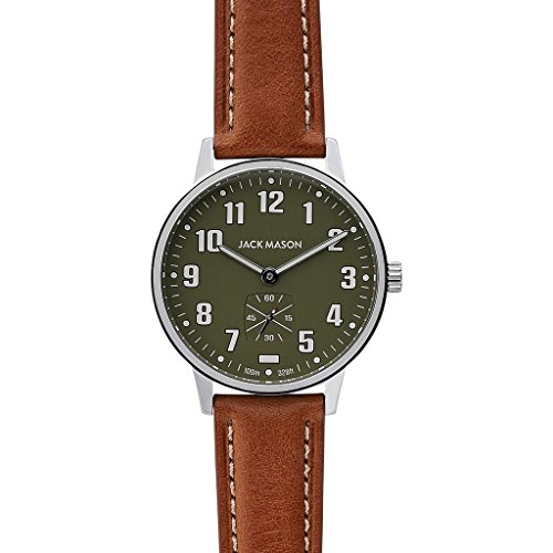 Jack Mason Field Sub Second Stainless Steel Green Dial Tan Leather Strap JM-F401-013