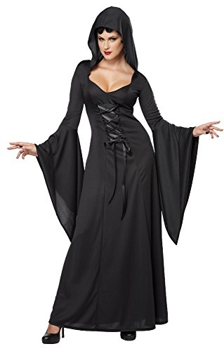 Long Black Witch Dress (California Costumes Women's Deluxe Hooded Robe Sexy Long Dress, Black, X-Large)