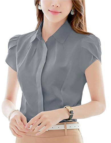 - Womens Cotton Pleated Collared Business Button Down Blouse Short Sleeve Shirt Gray 16
