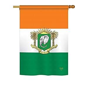 """Brisa Decor–Costa de Marfil banderas del mundo–día impresiones decorativo vertical casa bandera 28""""X 40"""" impreso en EE. UU."""