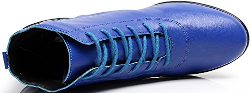 Abby 1001 Womens Mid Top Jazz Practice Dance Shoes Round Toe Lace Up Flat Split Sole PU Sneakers Blue 2FFePYbRa