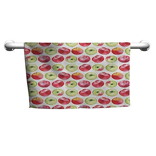 duommhome Apple Soft Bath Towel Watercolor Macoun Cameo and Granny Smith Drawing in Agricultural Yield Pattern W12 x L35 Apple Green Red -