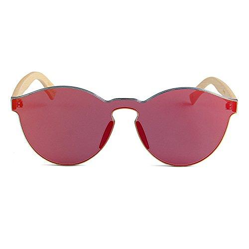 a para de Estilo Gafas una de Pierna Color Lente Protección para Sol de Adecuado Hombres Unisex de Gububi de Uso Fines Mano UV la bambú Rojo de Libre Aire múltiples Pieza Hecha al y Mujeres Diario De O046Rv