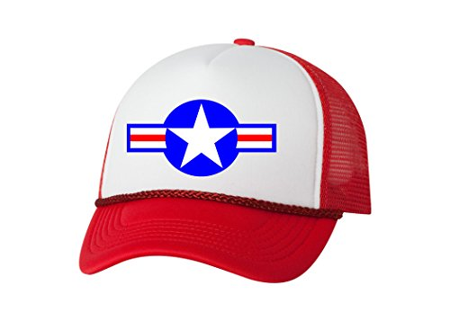 Rogue River Tactical Military Trucker Hat Roundel Baseball Cap Retro Vintage USA Air Force Jet Planes Aircraft (Red)