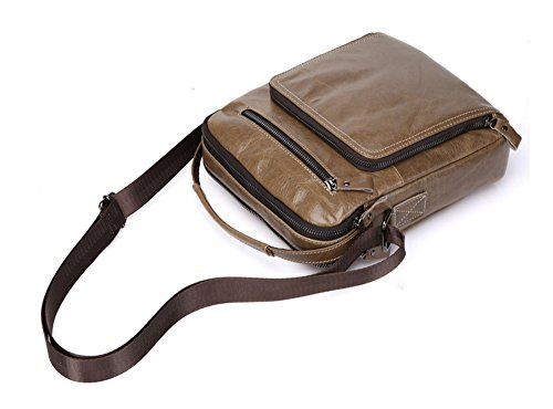 Los hombres Xinmaoyuan bolsos de cuero genuino de los hombres de negocios informal Bolsa Bolso de Hombro Vertical Zipper cartero Package,caqui Caqui
