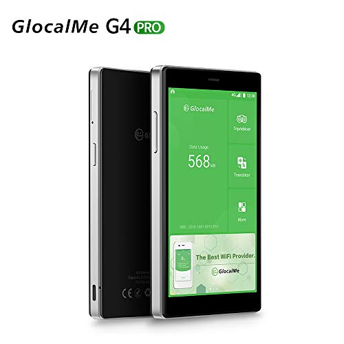 GlocalMe G4 pro 4G LTE Mobile Hotspot   International High Speed WiFi Hotspot with 1GB Global Data & 8GB US Data   SIM-Card Free   No Roaming Pocket MIFI Device - Black