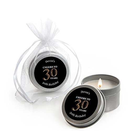 Custom Adult 30th Birthday - Gold - Personalized Candle Tin Birthday Party Favors (Set of 12) Personalized Birthday Candle