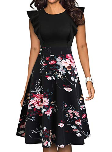 YATHON Women's Vintage Ruffle Floral Flared A Line Swing Casual Cocktail Party Dresses (M, YT001-Black Floral P2)