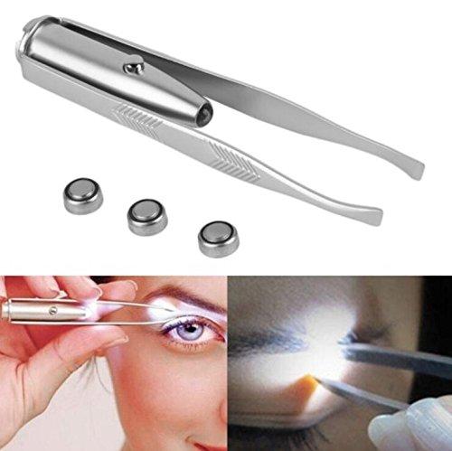 Practical Beauty Tools Eyebrow Tweezer Tweezer with Light,LED Tweezer-Stainless Steel Precision Make Up Tweezer Hair Removal Tweezer (Color : Silver, Size : 8.8×0.8×1.6CM)
