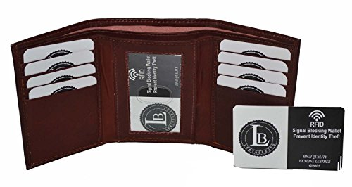 RFID Blocking Men's Leather Classic Trifold Wallet (Brown)