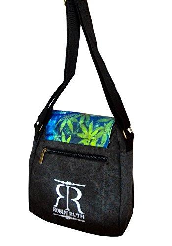Robin Ruth Canvas kleine Umhängetasche HAMBURG in schwarz/blau (Maße: LxHxT 23x23x8 cm)