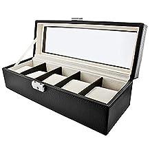 JBW Leather Five Watch Storage Case Model #JBW-5-Black