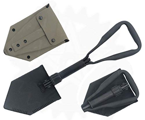 (Mcguire Gear Genuine Military Issue Tri-Fold Entrenching Tool (E-Tool), with Shovel Cover (OD Green/Rubber Cover))