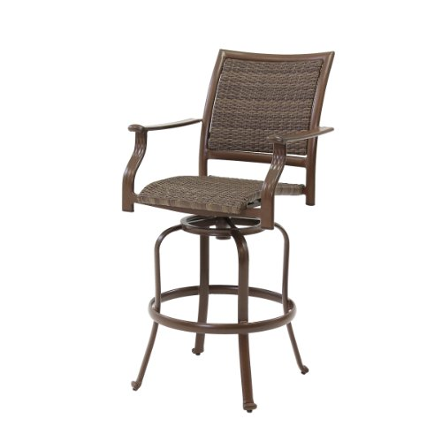 Panama Jack Outdoor Island Cove Woven Swivel Barstool, 30-Inch (Outdoor Swivel Bar Chairs)