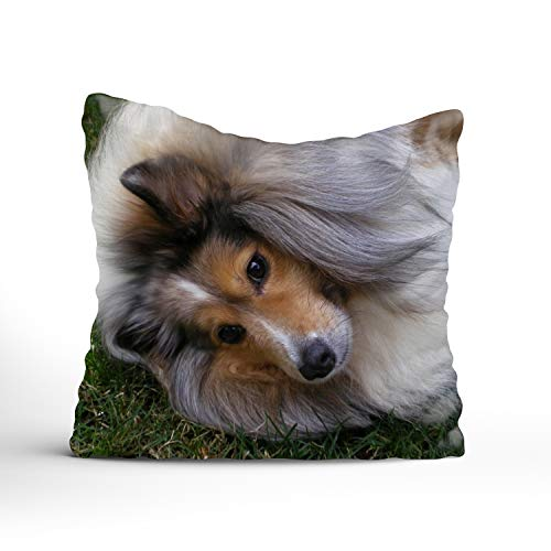 Dog Playing On Grass Throw Pillow Covers Decorative Cotton Pillow Shams