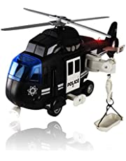 WolVol Police Helicopter - Solid Built Push & Go Chopper Toy with Lights & Sounds - Aids Hand-Eye Coordination for Kids Boys & Girls (Black)