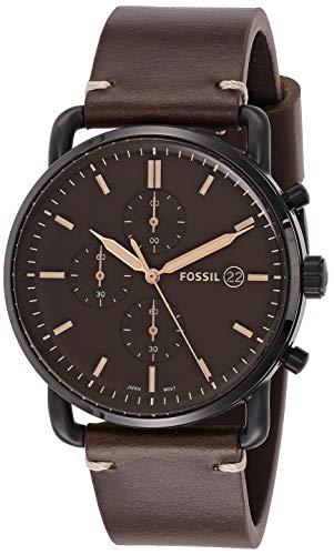 Fossil Men's Commuter Quartz Leather Chronograph Watch, Color: Black, Brown (Model: FS5403)