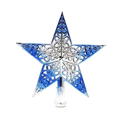 Soochat Christmas Star Tree Topper Hollowed-Out Silver Glittered Metal Hallow Tree Star Unique Design Xmas Tree Topper Decoration Ornaments Home Decor (Silvery Blue)]()