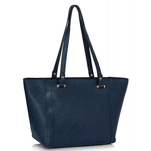 """Xardi London 12""""grandes bolsas de hombro mujer piel sintética Grab bolso trabajo escuela superior señoras bolsa azul marino"""