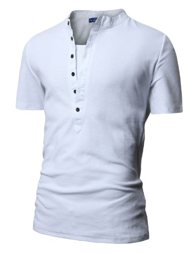 Doublju Mens Henley T-shirts with Short Sleeve