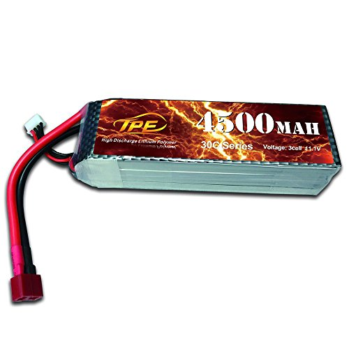 TPE 4500mAh High Capacity 11.1V 3-cell 30c lipo Battery with Dean-Style T Plug Battery for RC Cars/RC Airplane Helicopter/RC Car Boat/RC Airplane/Hubsan H501S X4 Drone Quadcopter (3 Cell Battery Life)