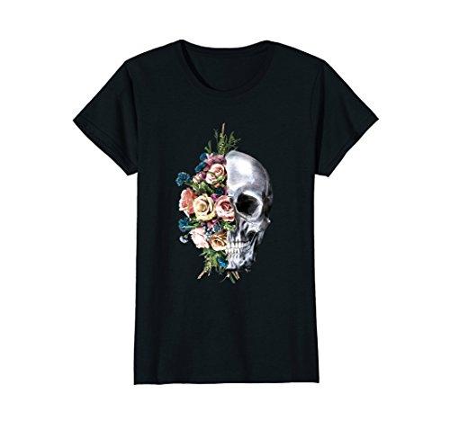Womens Flower Skull T-Shirt Sugar Roses for Women Girls Halloween Small Black