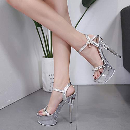 Sandalias Con Tacón Estilo Europeo Las Y Elegante 37 He Hebilla yanjing Americano De B Plataforma Mujeres Pedrería Zapatos b Sexy Impermeable 2019 Aguja nvt5zUwtax