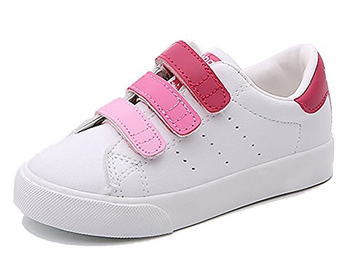 Orlando Johanson New Kids Contrast Color School Sneakers Leather Waterproof Sport Running Shoes Pink 12.5 M US Little Kid - Wiki 1970s