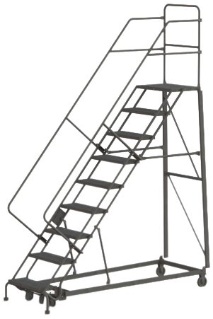 (Tri-Arc KDHS109242 9-Step Heavy-Duty Safety Angle Steel Rolling Industrial & Warehouse Ladder with Grip Strut Tread)