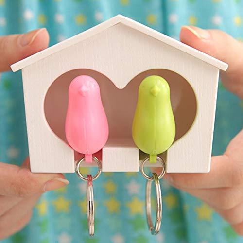 - Couple Pair Sparrow Bird House Nest Whistle Key Ring Keyholder Keychain Hanger Rack - White House(Bird Color Random) - Coffee House