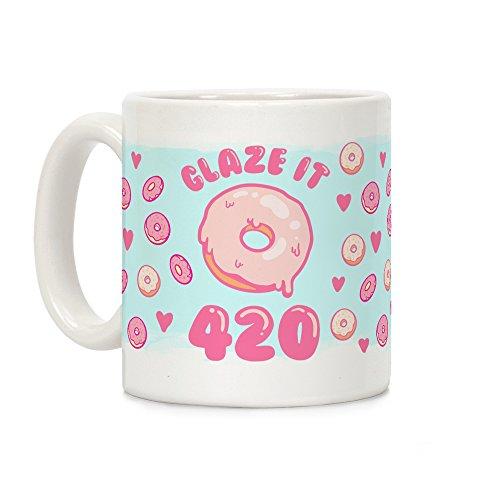 LookHUMAN Glaze It 420 Donut White 11 Ounce Ceramic Coffee -