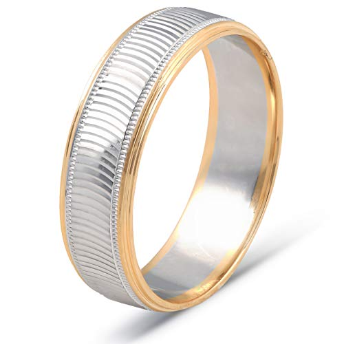 - 14k Gold Mens 6mm Two Tone Wave Cut Ring Wedding Band - Size 8