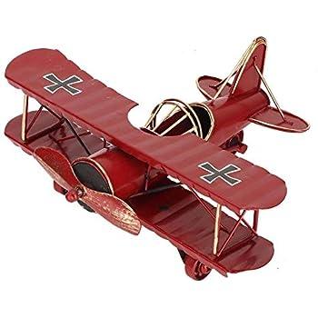 Airplane Model, Vintage Iron Decorative Aircraft Biplane Pendant Toys for Photo Props, Desktop(Red)