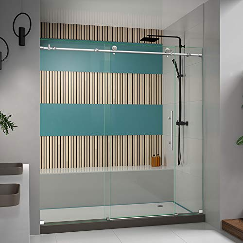 DreamLine Enigma-X 68-72 in. W x 76 in. H Fully Frameless Sliding Shower Door in Brushed Stainless Steel, SHDR-61727610-07