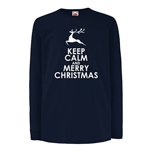 T-Shirt For Kids Merry Christmas ! Xmas Deer, Holiday Clothes (3-4 Years Blue White) (Redneck Gift Baskets For Newborn)