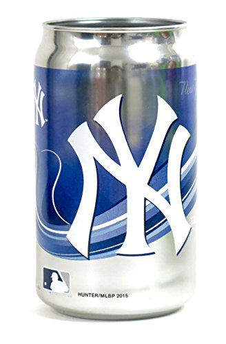 Chrome New York Glass - New York Yankees Chrome Can Glass Tumbler , Looks Like a Beer Can, but Its a Solid Thick Glass Tumbler 12 Oz.