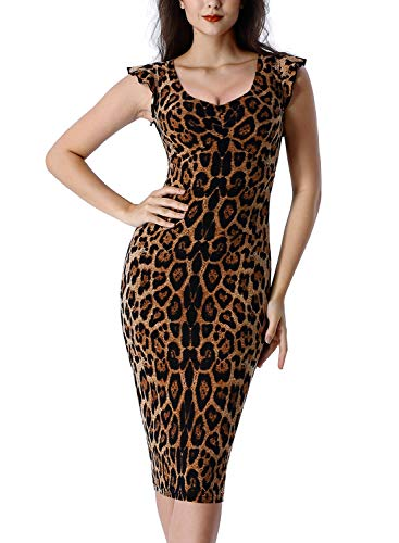 VFSHOW Womens Leopard Print Elegant Ruffle Sleeve Ruched Slimming Casual Cocktail Party Bodycon Sheath Midi Dress Z3033 Leo XS